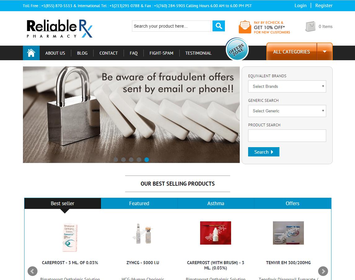 Reliablerxpharmacy.com Main Page