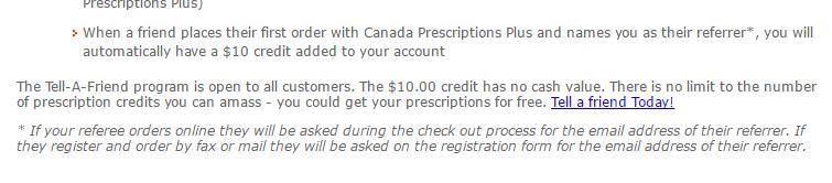 Canadaprescriptionsplus.com Referral Program
