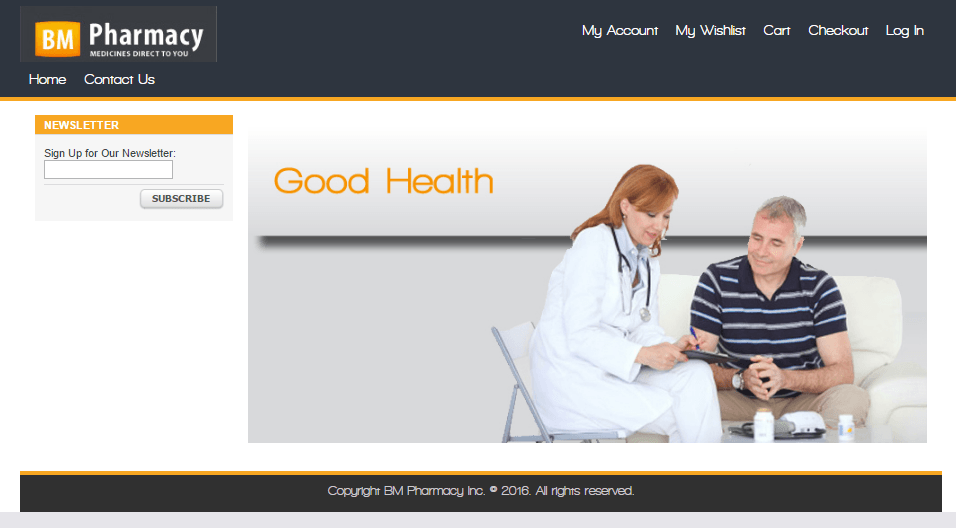 Bmpharmacy.com Main Page