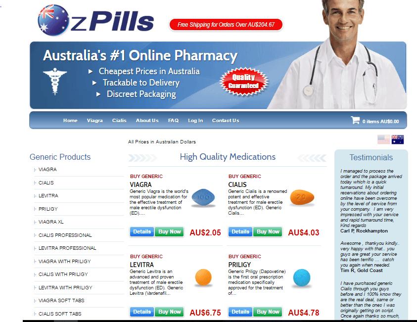 Ozpills.com Main Page