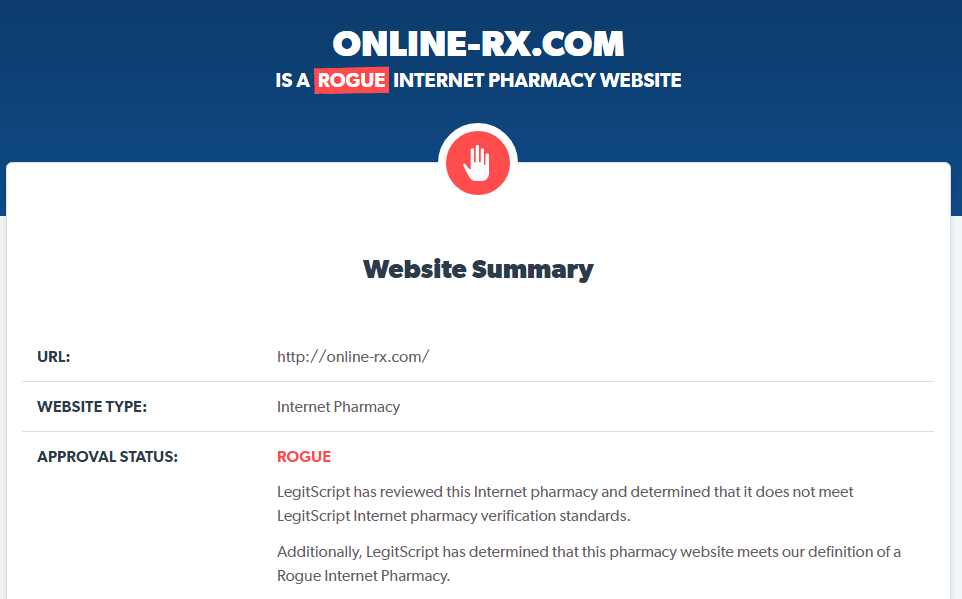 Online-rx.com is a Rogue Pharmacy
