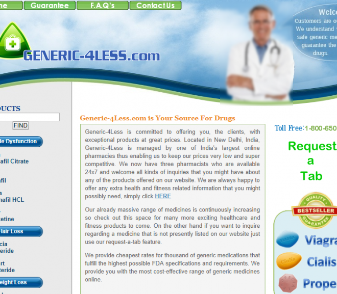 Generic-4-less.com Review – Closed Indian Online Pharmacy