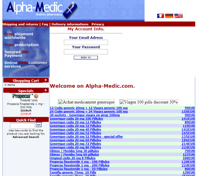 Alpha-medic.com Review – Advertising Site for Affiliate Online Pharmacies with a Rogue Status