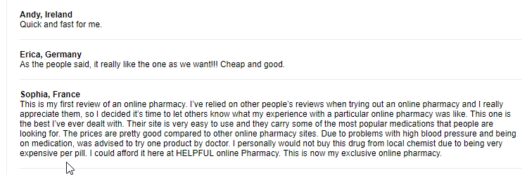 Cheap Rx User Testimonials