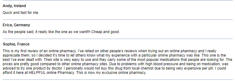 Consumer Feedback for the Online Pills Drugstore Network